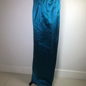 Valentino Silk Long Skirt Blue Turquoise Size 12